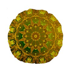 Yellow Green Abstract Wheel Of Fire 15  Premium Round Cushion  by DianeClancy