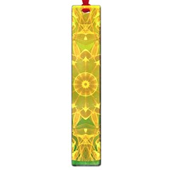 Yellow Green Abstract Wheel Of Fire Large Bookmark by DianeClancy