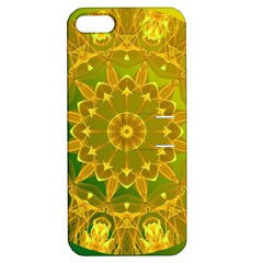Yellow Green Abstract Wheel Of Fire Apple Iphone 5 Hardshell Case With Stand by DianeClancy