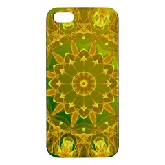 Yellow Green Abstract Wheel Of Fire Apple Iphone 5 Premium Hardshell Case by DianeClancy