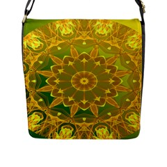 Yellow Green Abstract Wheel Of Fire Flap Closure Messenger Bag (large) by DianeClancy