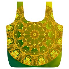 Yellow Green Abstract Wheel Of Fire Reusable Bag (xl) by DianeClancy
