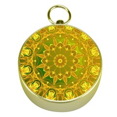 Yellow Green Abstract Wheel Of Fire Gold Compass by DianeClancy