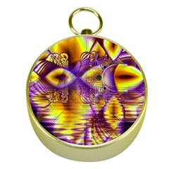 Golden Violet Crystal Palace, Abstract Cosmic Explosion Gold Compass by DianeClancy