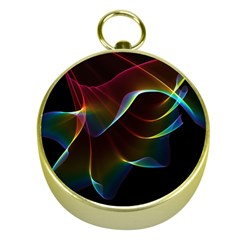 Imagine, Through The Abstract Rainbow Veil Gold Compass by DianeClancy