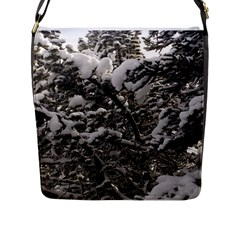 Snowy Trees Flap Closure Messenger Bag (large) by DmitrysTravels