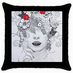 Flower Child Black Throw Pillow Case by StuffOrSomething