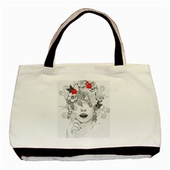 Flower Child Twin Sided Black Tote Bag by StuffOrSomething