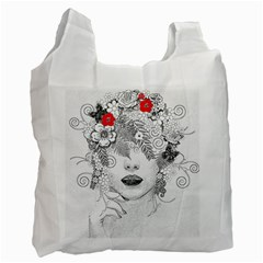 Flower Child White Reusable Bag (one Side) by StuffOrSomething