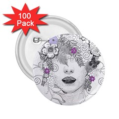 Flower Child Of Hope 2 25  Button (100 Pack) by FunWithFibro