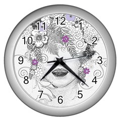 Flower Child Of Hope Wall Clock (silver) by FunWithFibro