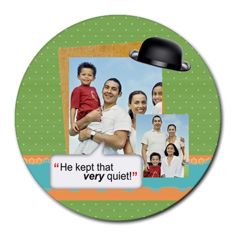 Fathers Day By Dad   Collage Round Mousepad   Hpqcrr7n42ij   Www Artscow Com 8 x8 Round Mousepad - 1