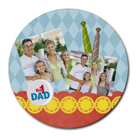 Fathers Day By Dad   Collage Round Mousepad   Yc15cxw2fpo0   Www Artscow Com 8 x8 Round Mousepad - 1