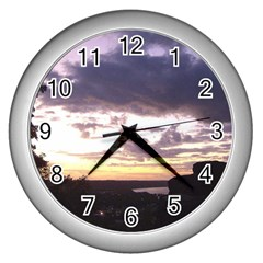 Sunset Over The Valley Wall Clock (silver) by Majesticmountain