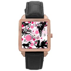 Fantasy In Pink Rose Gold Leather Watch  by StuffOrSomething