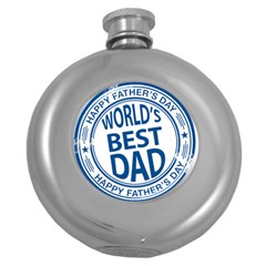 Fathers Day Rubber Stamp Effect Hip Flask (Round) by Zandiepants