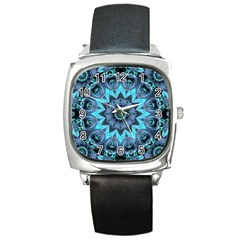 Star Connection, Abstract Cosmic Constellation Square Leather Watch by DianeClancy