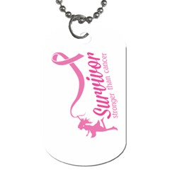 Survivor Stronger Than Cancer Pink Ribbon Dog Tag (two Sided)  by breastcancerstuff