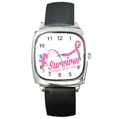 Survivor Stronger Than Cancer Pink Ribbon Square Leather Watch by breastcancerstuff