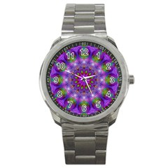 Rainbow At Dusk, Abstract Star Of Light Sport Metal Watch