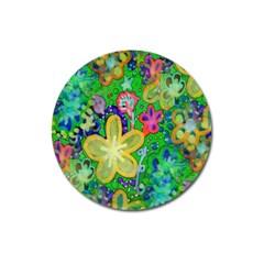 Beautiful Flower Power Batik Magnet 3  (round) by rokinronda
