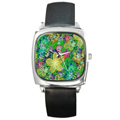 Beautiful Flower Power Batik Square Leather Watch by rokinronda