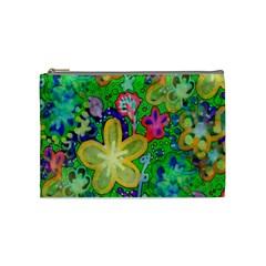 Beautiful Flower Power Batik Cosmetic Bag (medium) by rokinronda