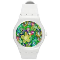 Beautiful Flower Power Batik Plastic Sport Watch (medium) by rokinronda