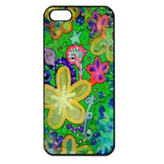 Beautiful Flower Power Batik Apple Iphone 5 Seamless Case (black) by rokinronda