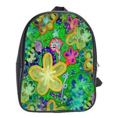 Beautiful Flower Power Batik School Bag (xl) by rokinronda