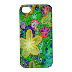 Beautiful Flower Power Batik Apple Iphone 4/4s Hardshell Case With Stand by rokinronda