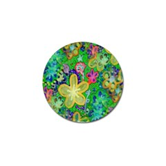 Beautiful Flower Power Batik Golf Ball Marker by rokinronda
