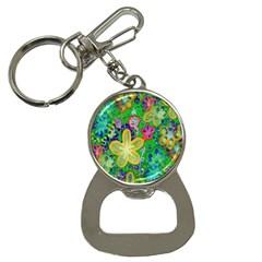 Beautiful Flower Power Batik Bottle Opener Key Chain by rokinronda
