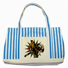 Knockout Boxing Striped Blue Tote Bag by MegaSportsFan