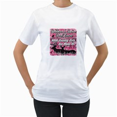 Ribbons Bows Pink Camo Country Girls Women s T-Shirt (White) (Two Sided)