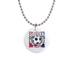 Soccer United States Of America 1  Button Necklace by MegaSportsFan