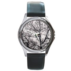 Tree Round Leather Watch (silver Rim) by DmitrysTravels