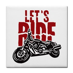 Red Text Let s Ride Motorcycle Tile Coaster by creationsbytom