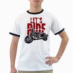 Red Text Let s Ride Motorcycle Ringer T by creationsbytom