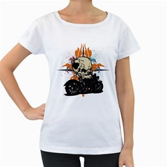 Skull Classic Motorcycle Women s Loose-Fit T-Shirt (White) by creationsbytom