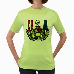 Usa Classic Motorcycle Skull Wings Women s Green T Shirt by creationsbytom