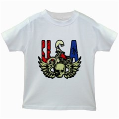 Usa Classic Motorcycle Skull Wings Kids White T Shirt by creationsbytom