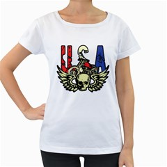 USA Classic Motorcycle Skull Wings Women s Loose-Fit T-Shirt (White) by creationsbytom