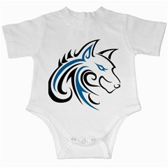 Blue And Black Wolf Head Outline Facing Right Side Infant Creeper by WildThings