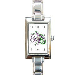 Purple And Green Wolf Head Outline Facing Left Side Rectangular Italian Charm Watch by WildThings