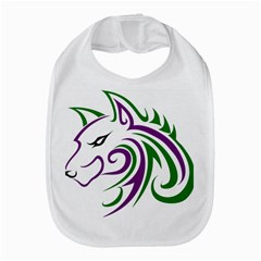 Purple and Green Wolf Head Outline Facing Left Side Bib by WildThings