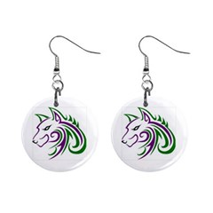 Purple And Green Wolf Head Outline Facing Left Side 1  Button Earrings by WildThings