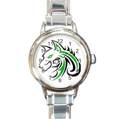 Green and Black Wolf Head Outline Facing Left Side Round Italian Charm Watch by WildThings