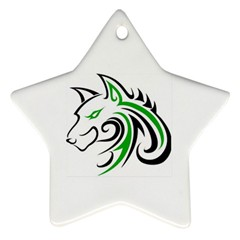 Green And Black Wolf Head Outline Facing Left Side Ornament (star) by WildThings