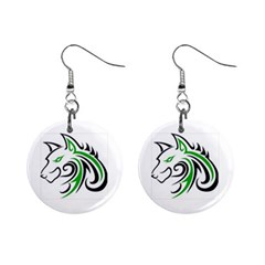 Green And Black Wolf Head Outline Facing Left Side 1  Button Earrings by WildThings